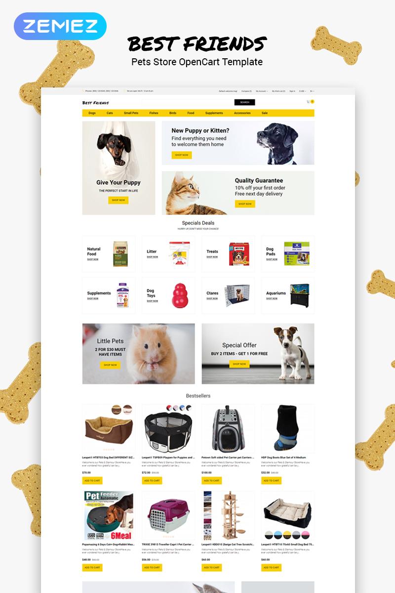 """Best Friends - Pets Store Clean"" 响应式OpenCart模板 #79853"