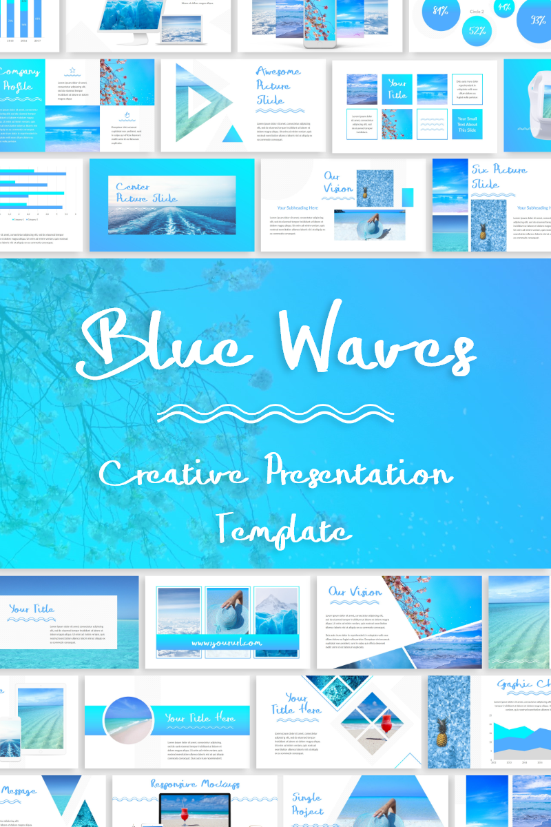 """Blue Waves -"" - PowerPoint шаблон №79899"