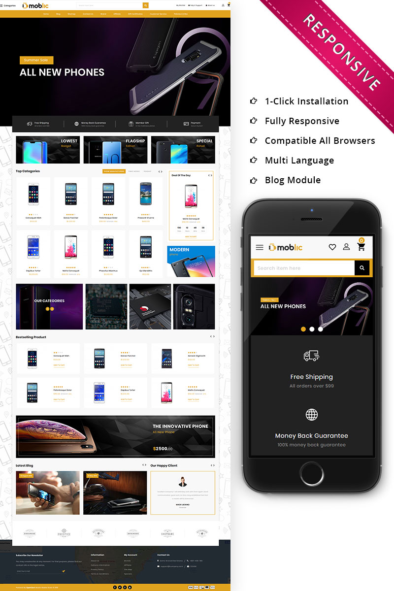 Bootstrap Moblic - The One Stop Mobile Shop Responsive Opencart #79816