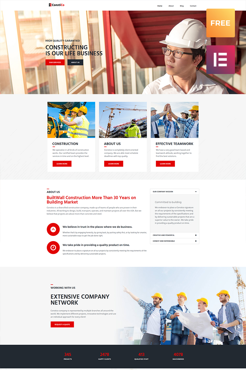 Constico lite - Construction Elementor WordPress Theme