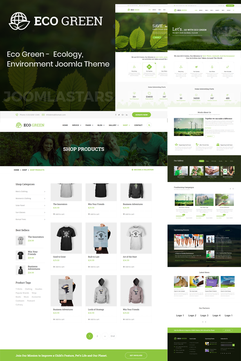 """Eco Green - Environment, Ecology and Renewable Energy"" Responsive Joomla Template №79811"