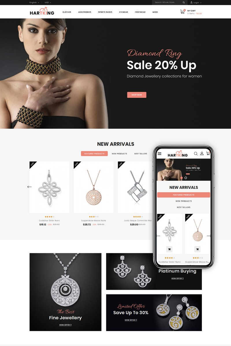 """Hartking - Jewelry Shop"" - PrestaShop шаблон №79874"