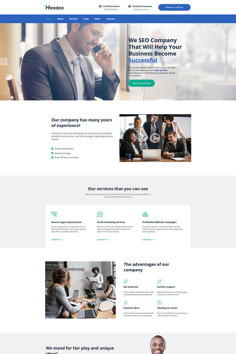 """""""Headox - Consulting Services"""" Moto CMS HTML Template №79800"""