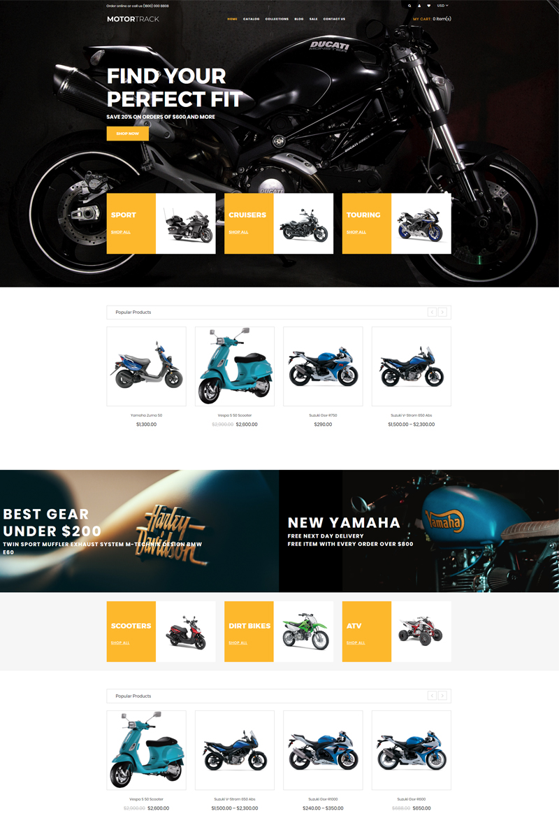 MOTORTRACK - Motorcycle Multipage Modern Shopify Theme - screenshot