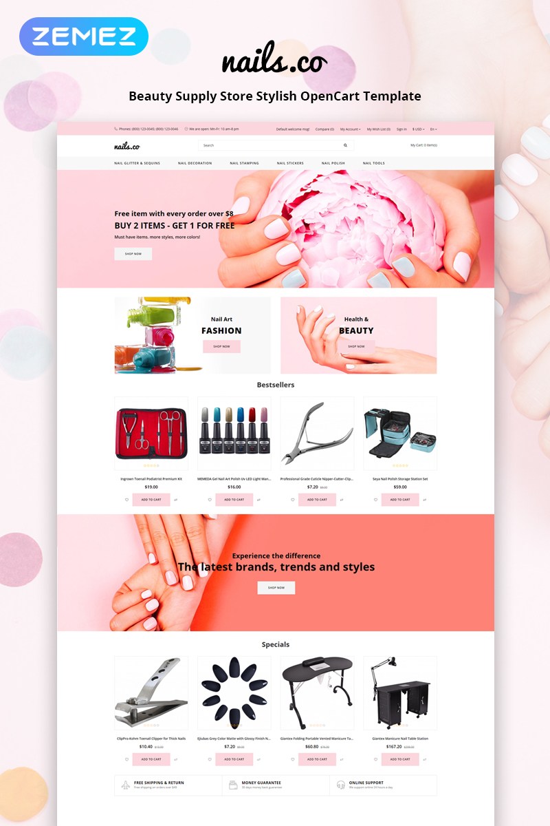"""""""Nails co. - Beauty Supply Store Multipage Stylish"""" Responsive OpenCart Template №79852"""