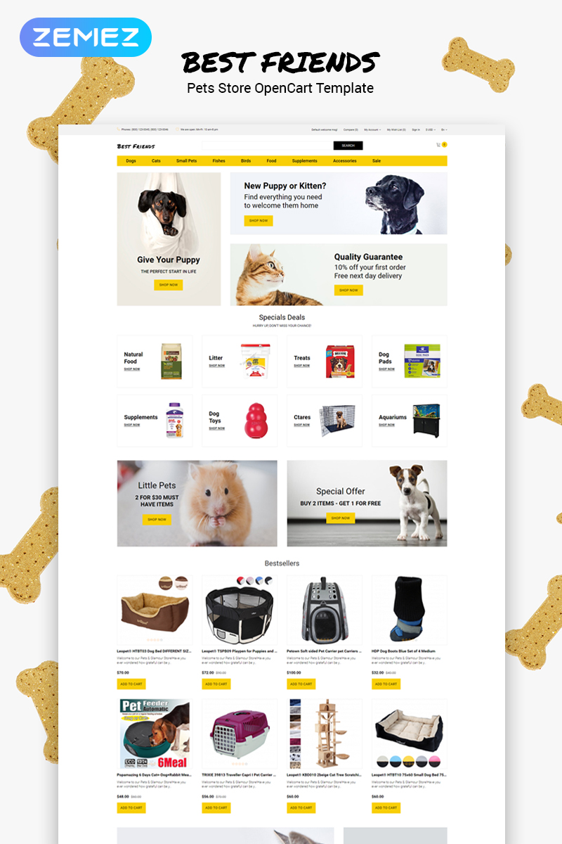"OpenCart Vorlage namens ""Best Friends - Pets Store Clean"" #79853 - Screenshot"