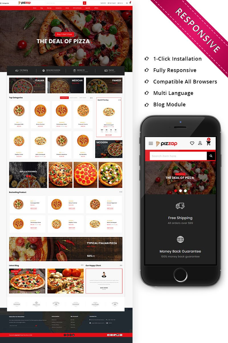 """Pizzap - The Pizza Store"" BootstrapOpenCart模板 #79818"