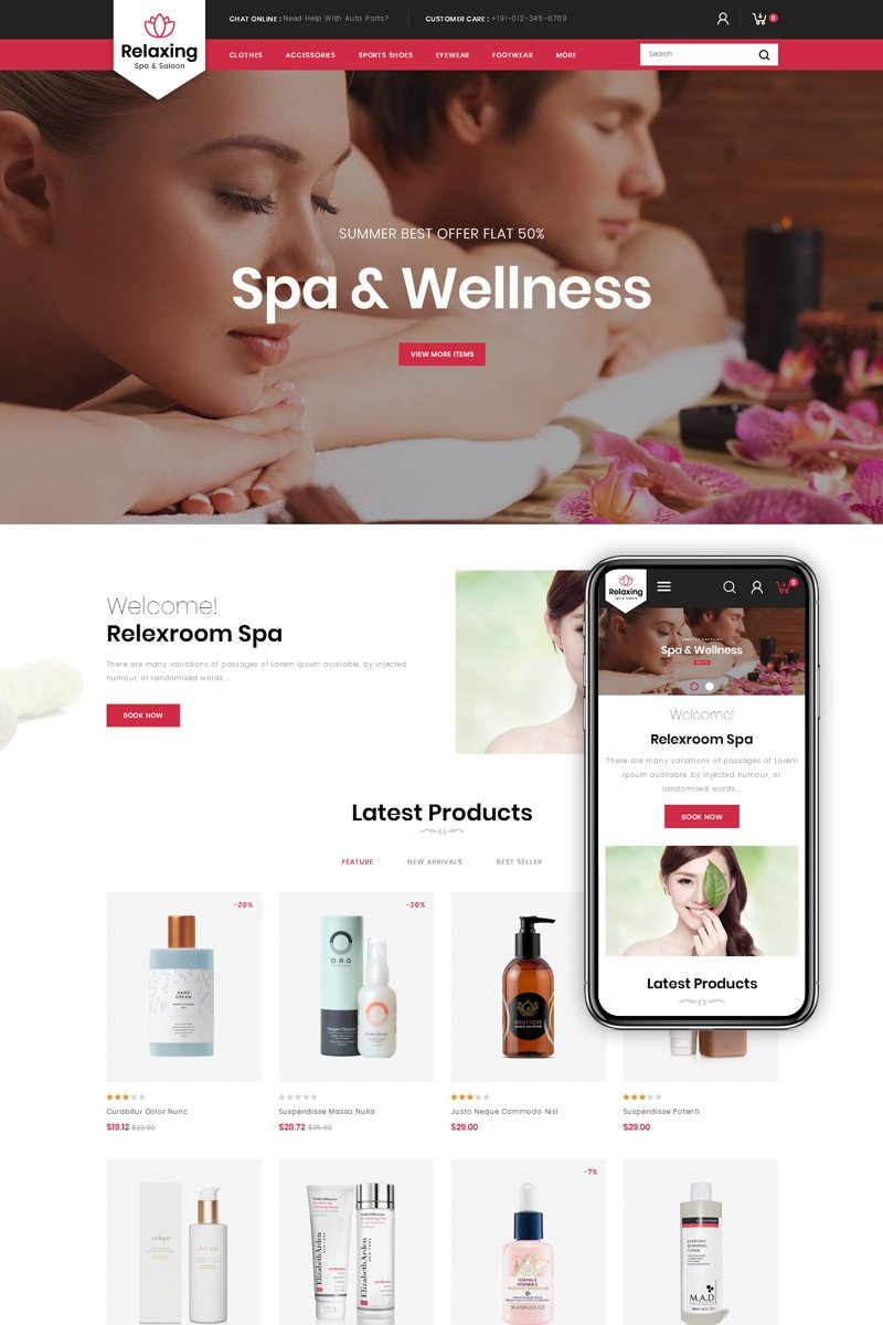 """Relaxing - Spa & Salon"" - PrestaShop шаблон №79835"