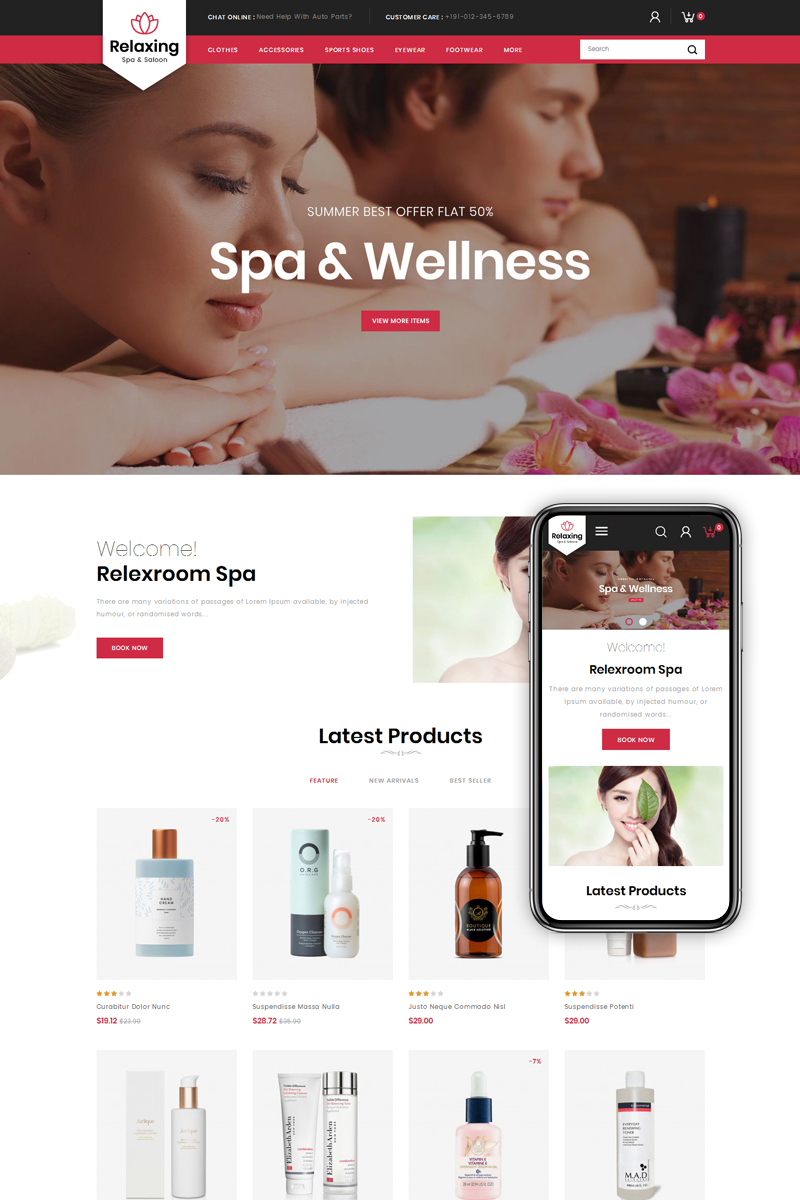 Relaxing - Spa & Salon PrestaShop-tema #79835