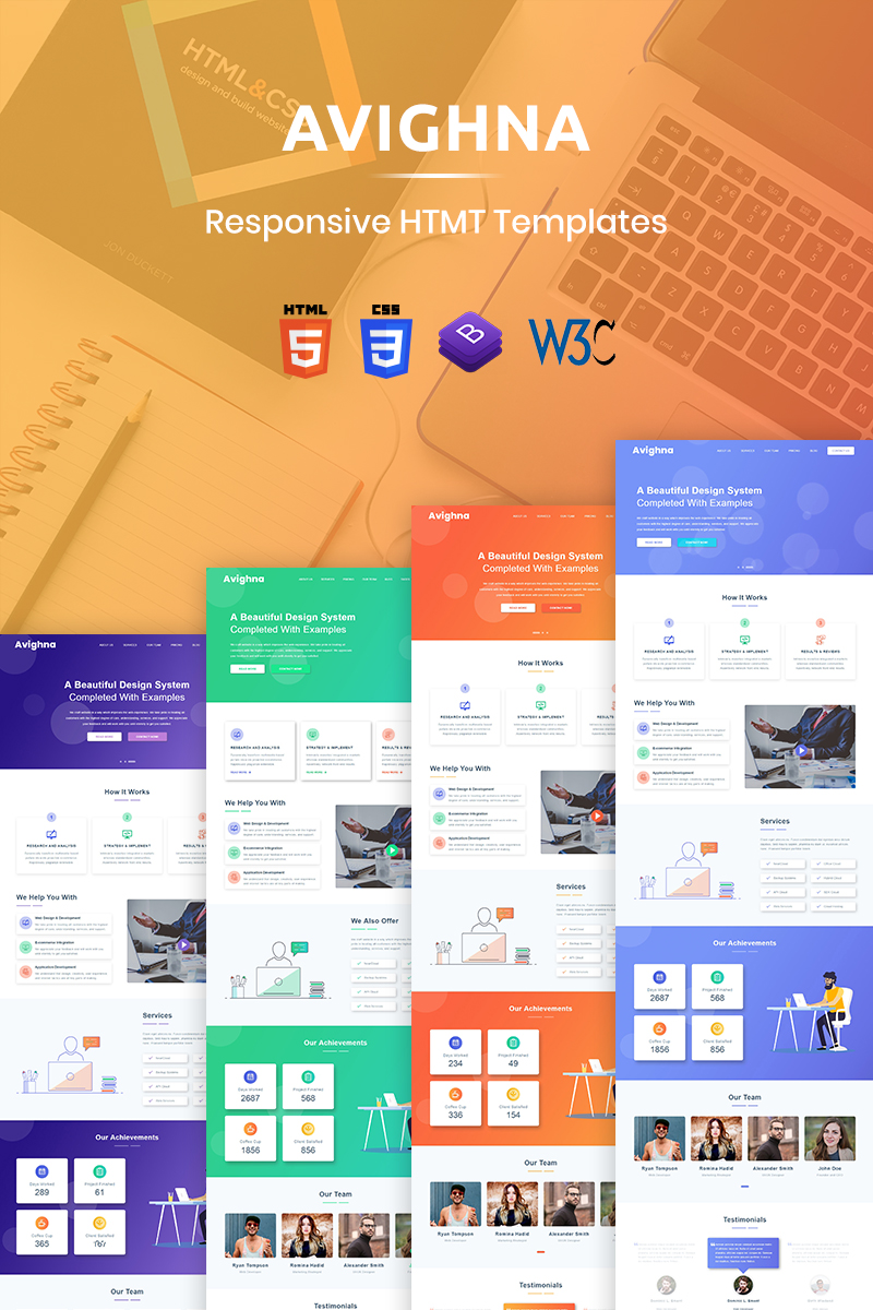 Responsive Avighna - Responsive Minimal Business Web Sitesi #79805