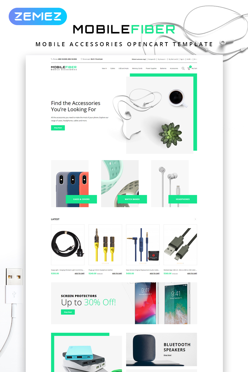 Responsive MobileFiber - Mobile Accessories Store Clean Opencart #79854