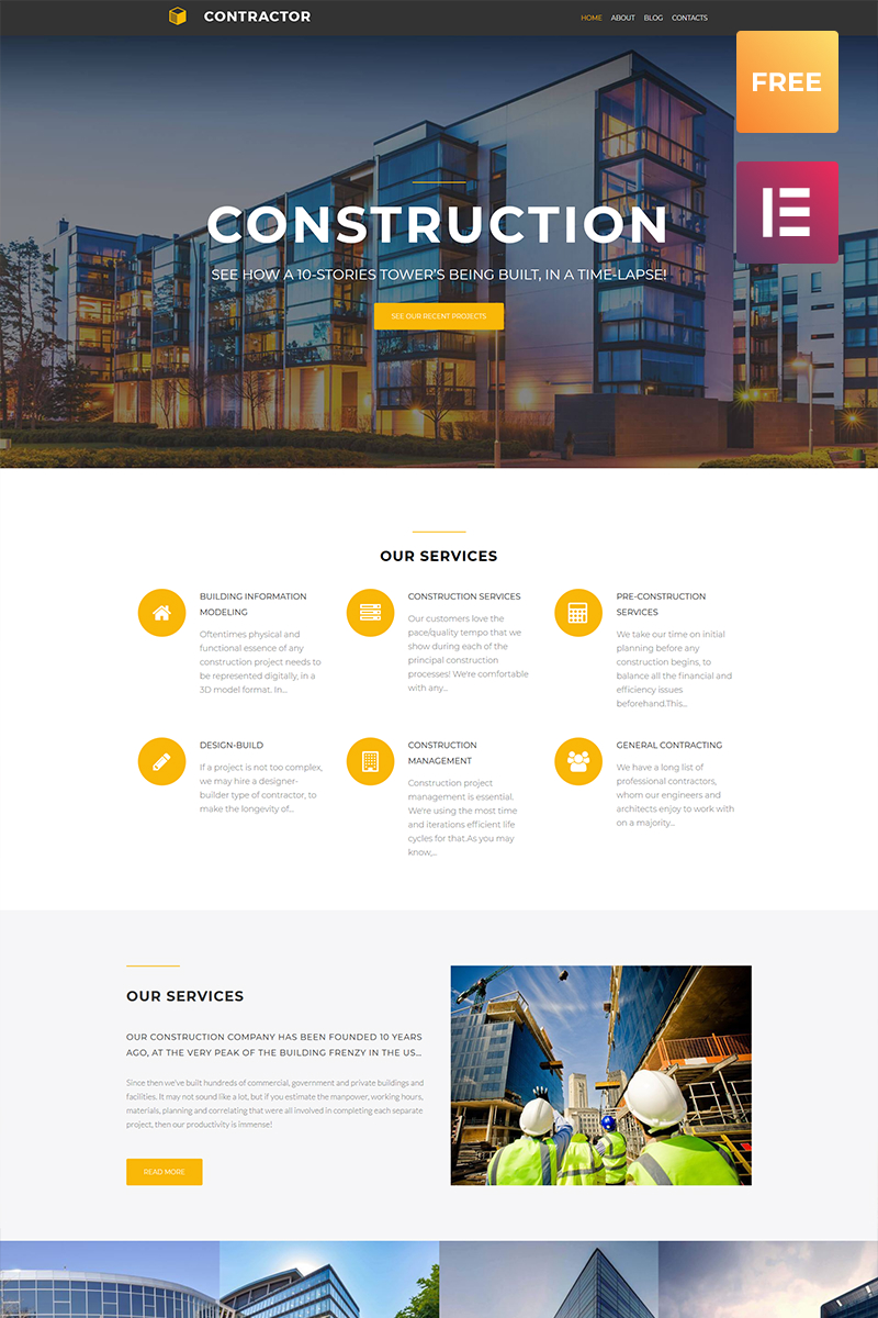 Responsivt Contractor lite - Architecture & Construction Company Elementor WordPress-tema #79876