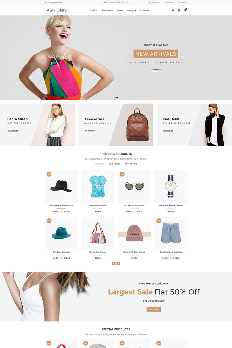 Responsivt Fashionist Multipurpose Shopify-tema #79872 - skärmbild