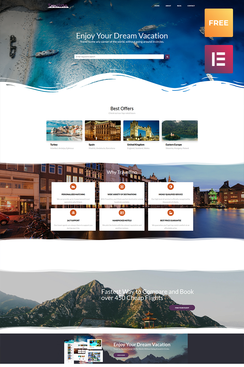 Responsivt Tourizto lite - Travel Company Elementor WordPress-tema #79863