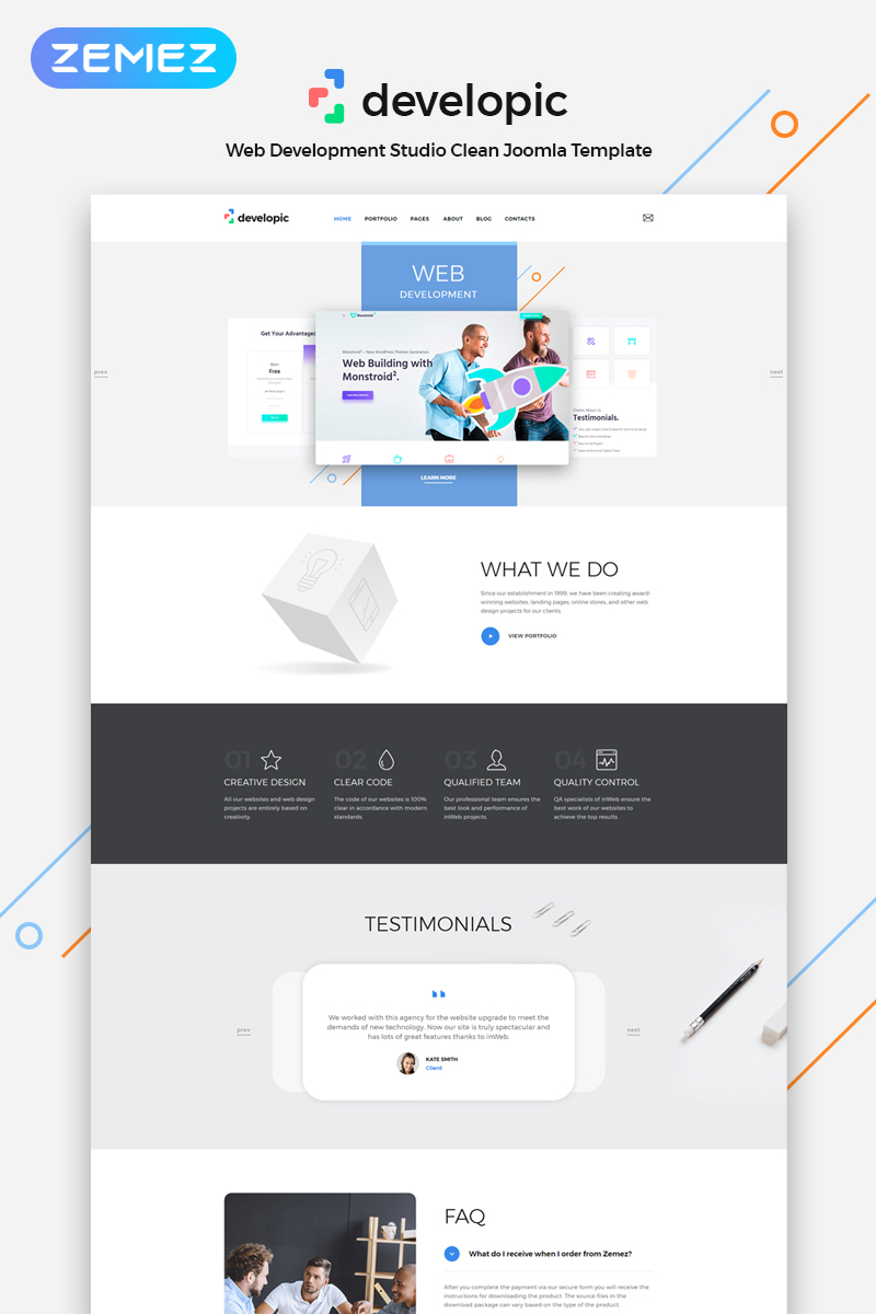 Responsywny szablon Joomla developic - Web Development Studio Clean #79838