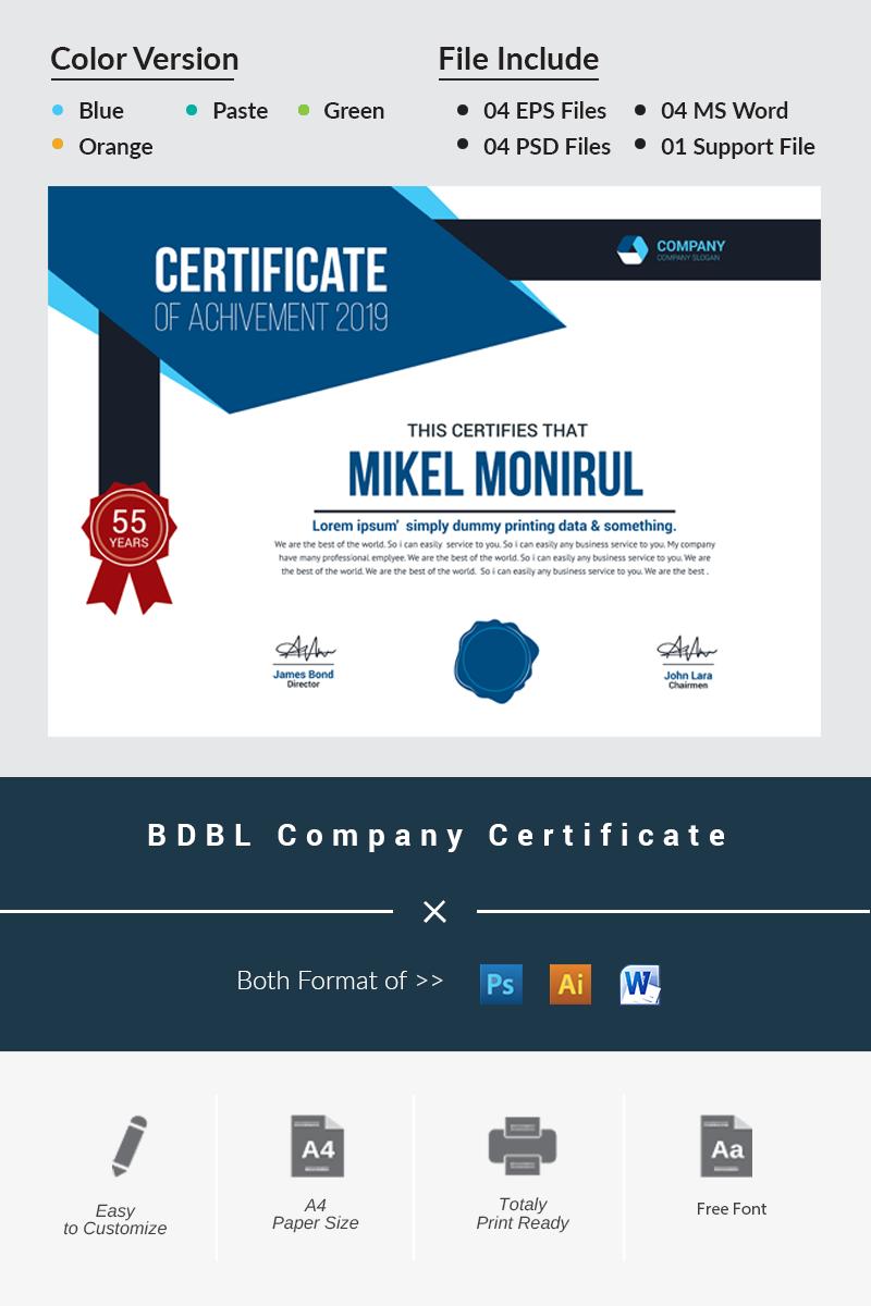 Szablon certyfikatu BDBL Company #79880