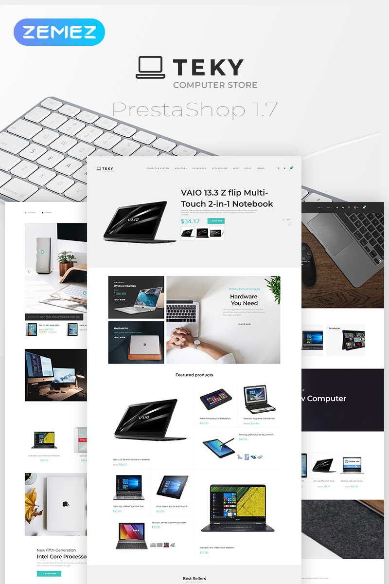 """Teky - Computers & Internet Store Clean Bootstrap Ecommerce"" thème PrestaShop adaptatif #79830"