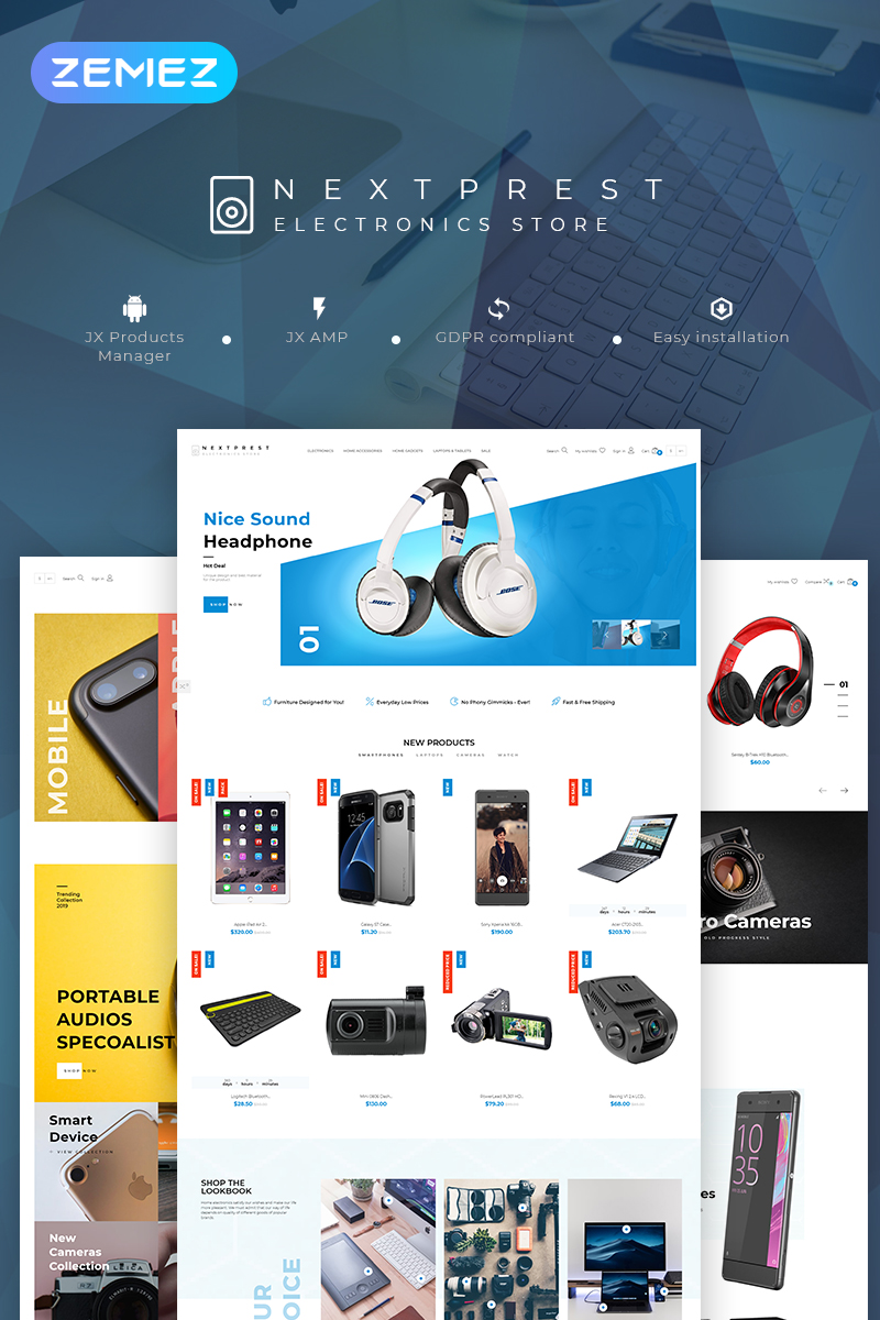 "Tema De PrestaShop ""Nextprest - Electronics Store Clean Bootstrap Ecommerce"" #79866"