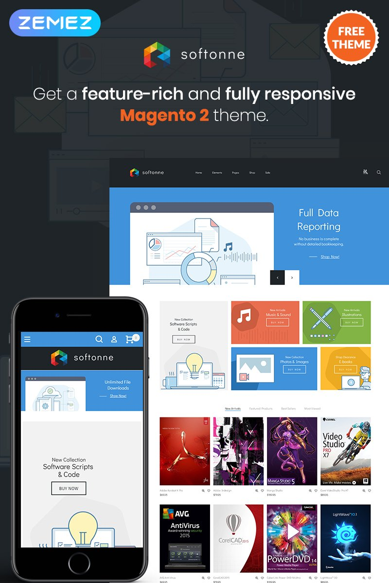 "Tema Magento ""Softonne - FREE Electronics Simple"" #79871"