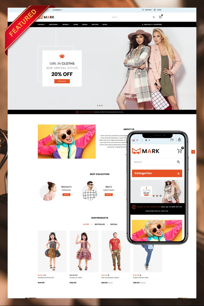 "Template OpenCart Responsive #79891 ""Mark"""