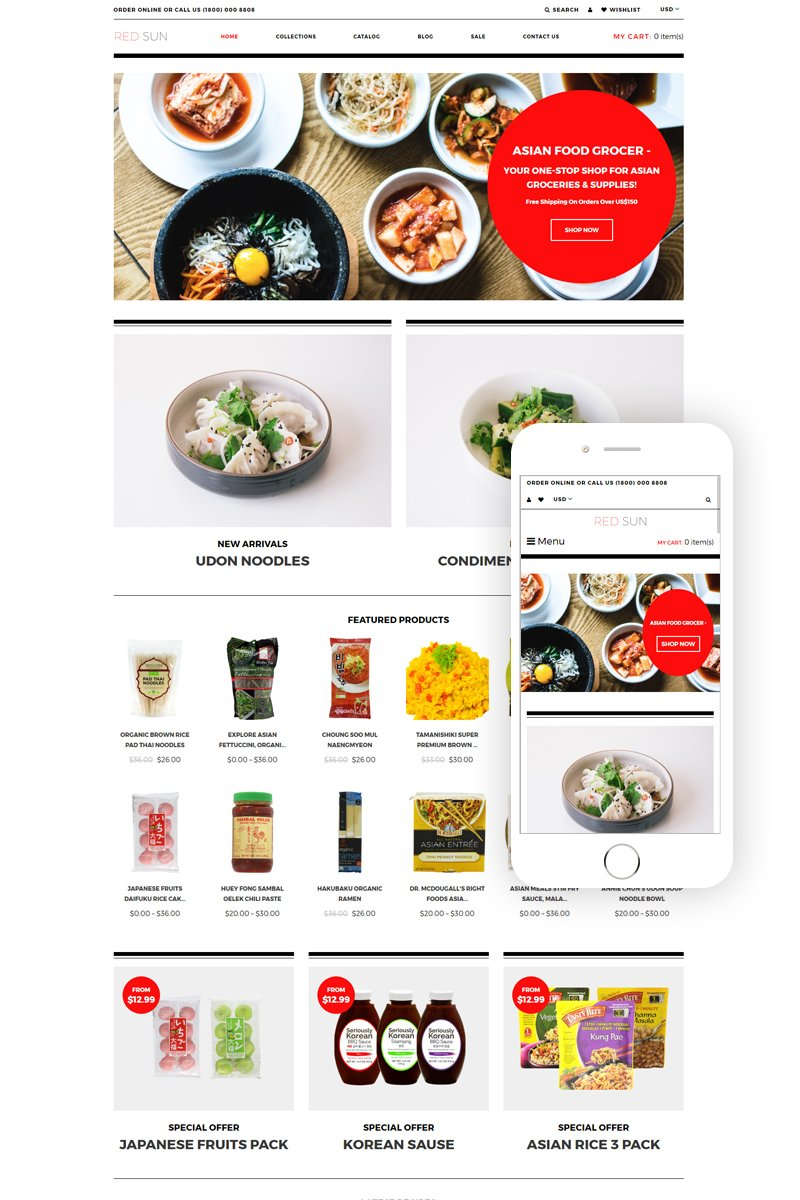 """Template Shopify Responsive #79861 """"Red Sun - Grocery Store Clean"""""""