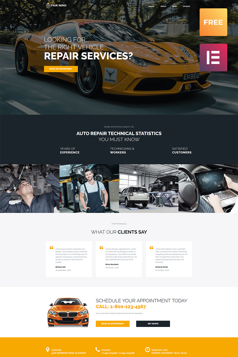 "Template WordPress Responsive #79864 ""Fair Wind lite - Car Repair Modern Elementor"""