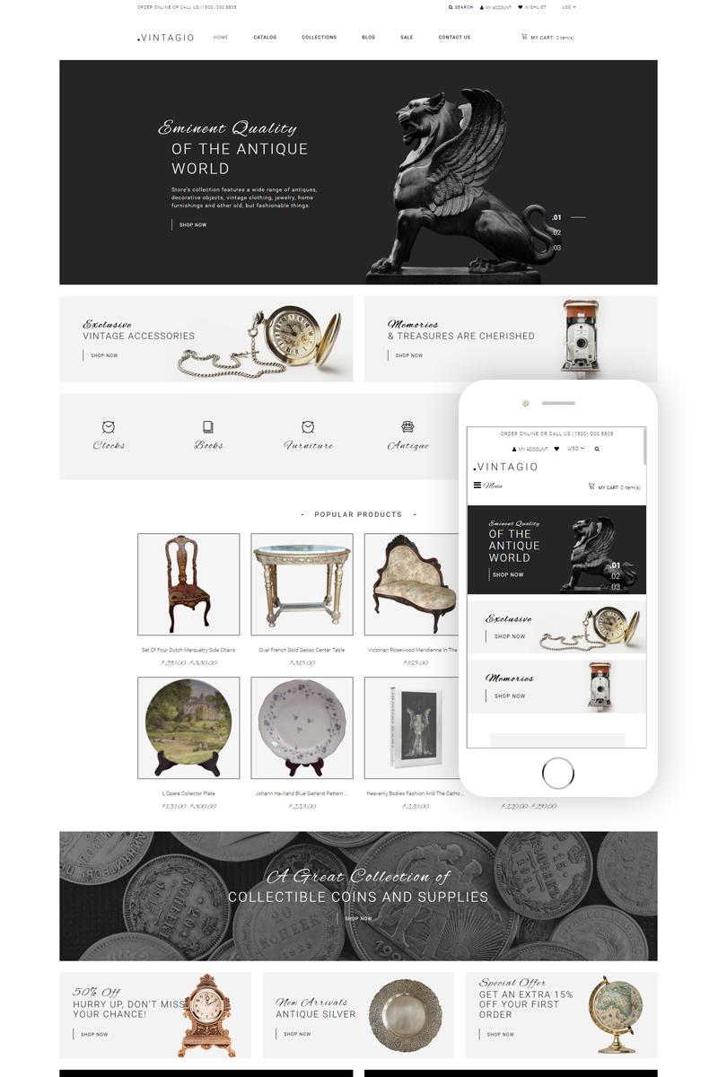 """Vintagio - Antique Shop Clean"" Responsive Shopify Thema №79860"
