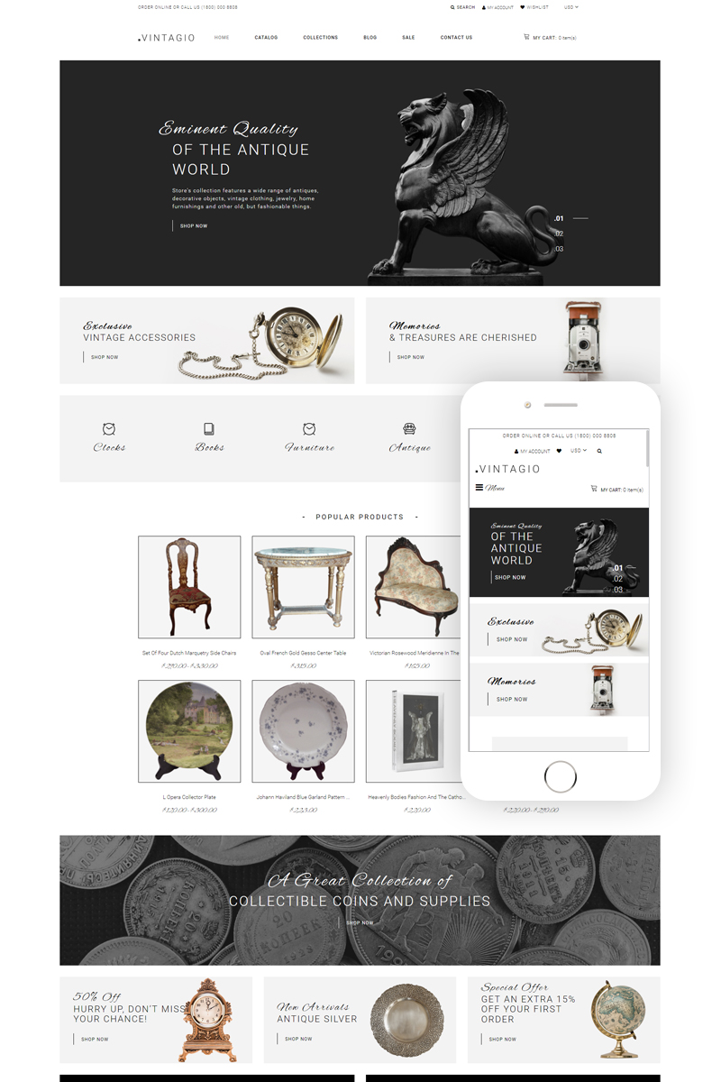 Vintagio - Antique Shop Clean Shopify Theme