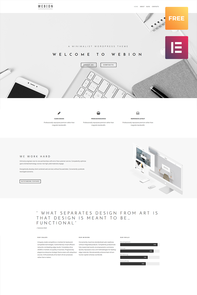 Webion lite - Minimal Elementor Multipurpose WordPress Theme