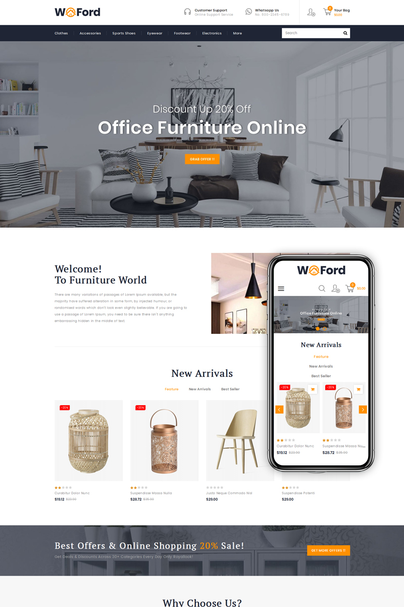 """WoFord - Furniture & Decor Store"" - PrestaShop шаблон №79804"