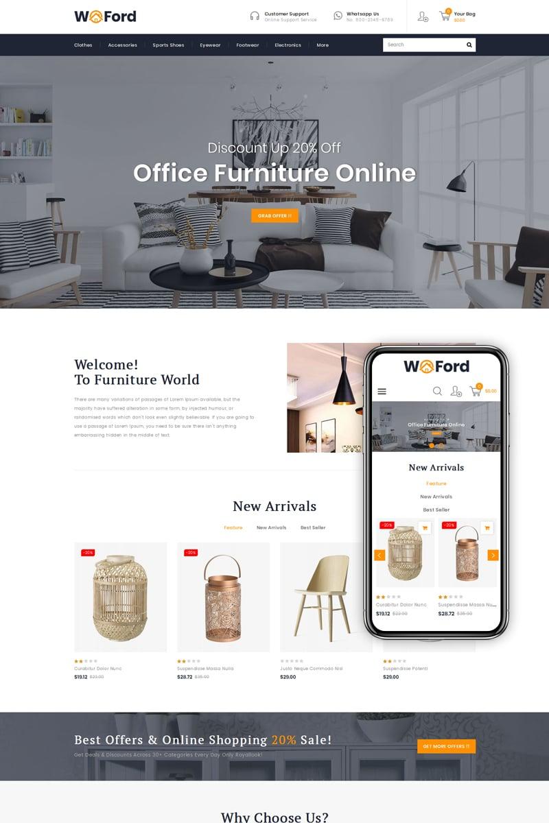"""WoFord - Furniture & Decor Store"" thème PrestaShop  #79804"