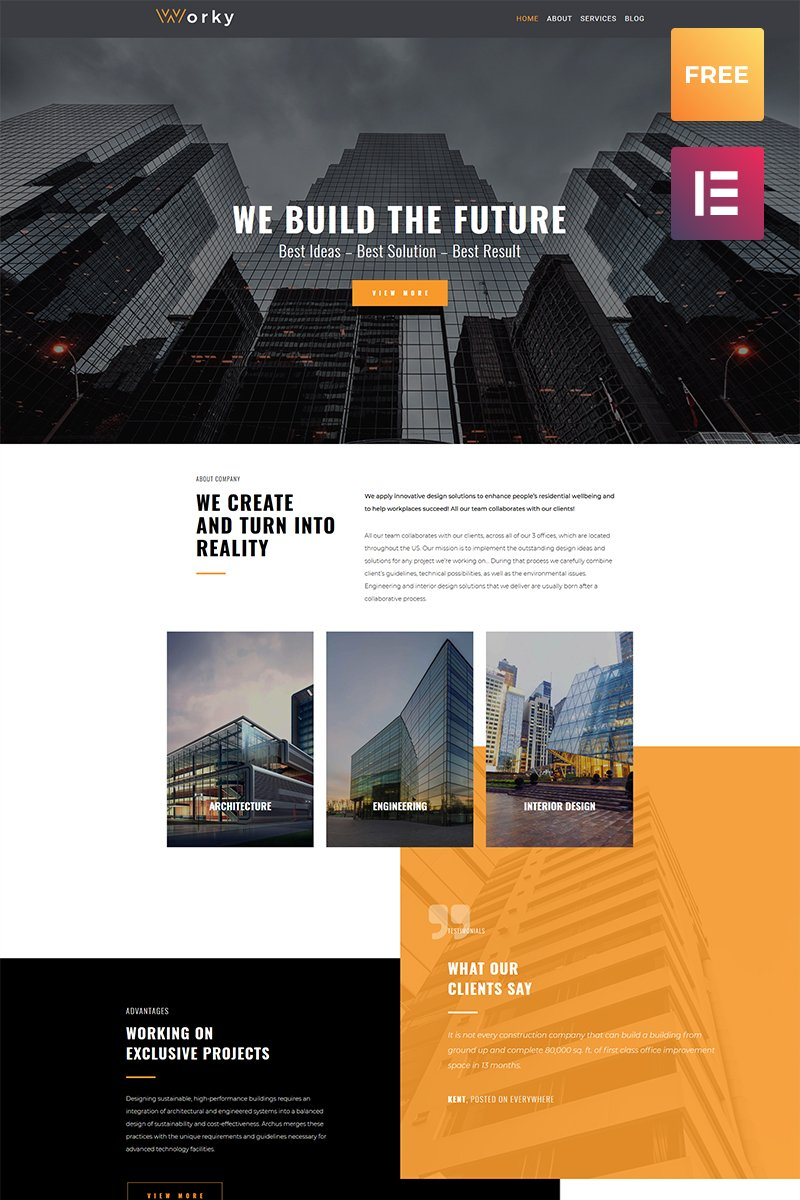 """Worky lite - Architectural Modern Elementor"" Responsive WordPress thema №79814"