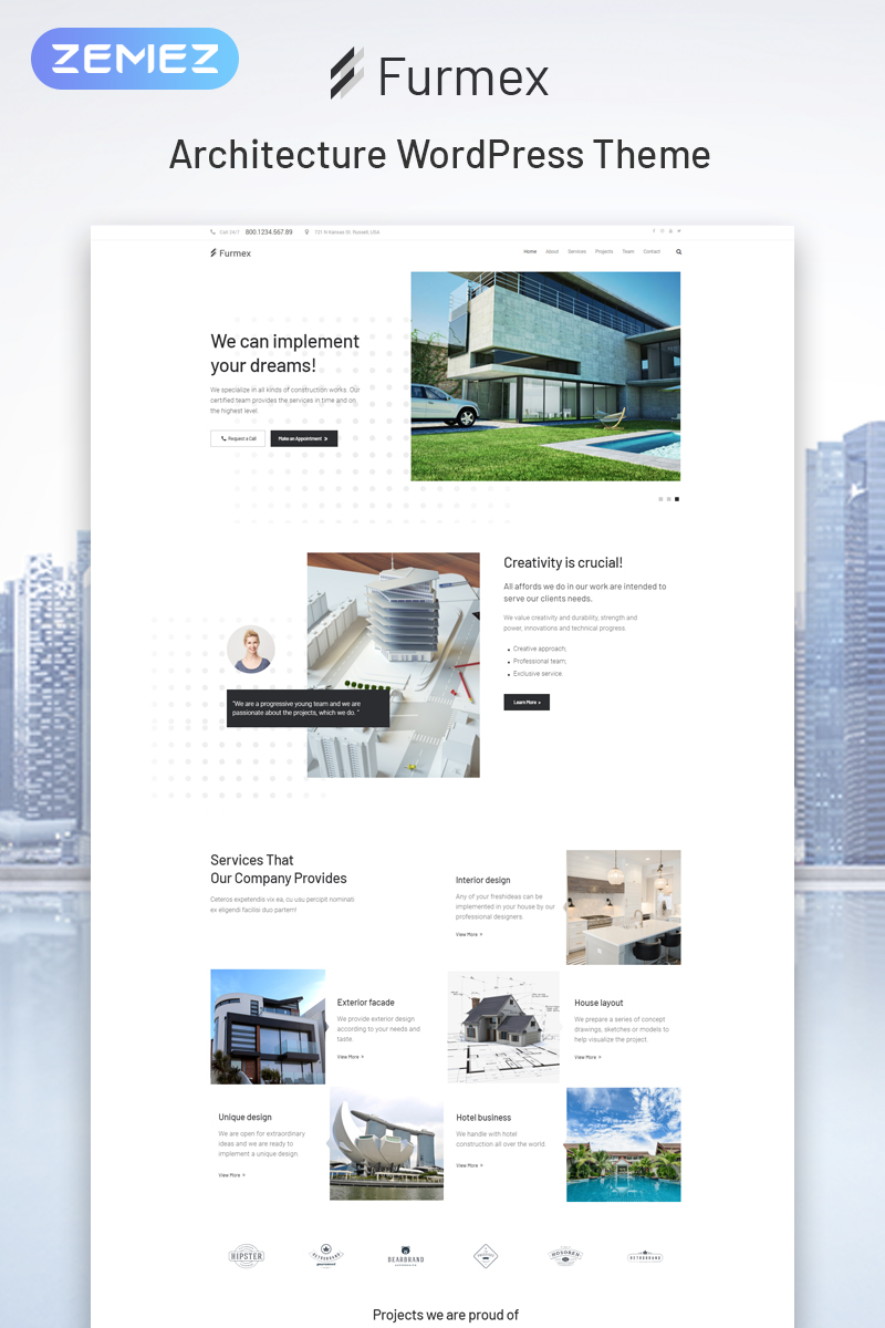 Furmex - Architecture Multipurpose Modern Elementor WordPress Theme - screenshot