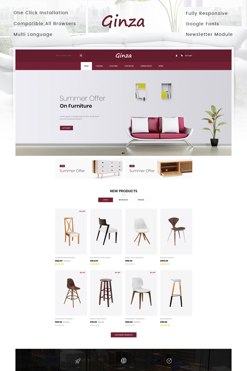 Ginza - Furniture Store OpenCart Template
