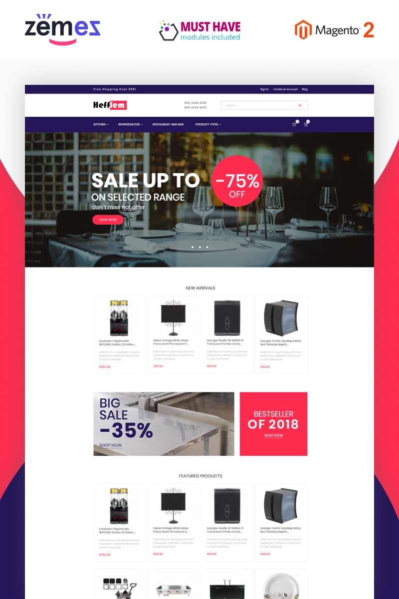 """Hefflem - Kitchen Furniture Ecommerce Template"" - Magento шаблон №79914"