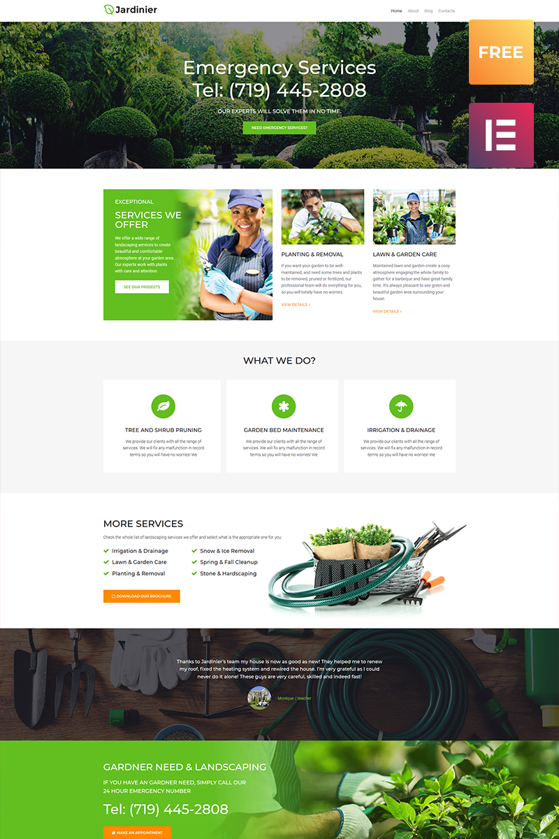 Jardinier lite - Landscaping Services Tema WordPress №79981