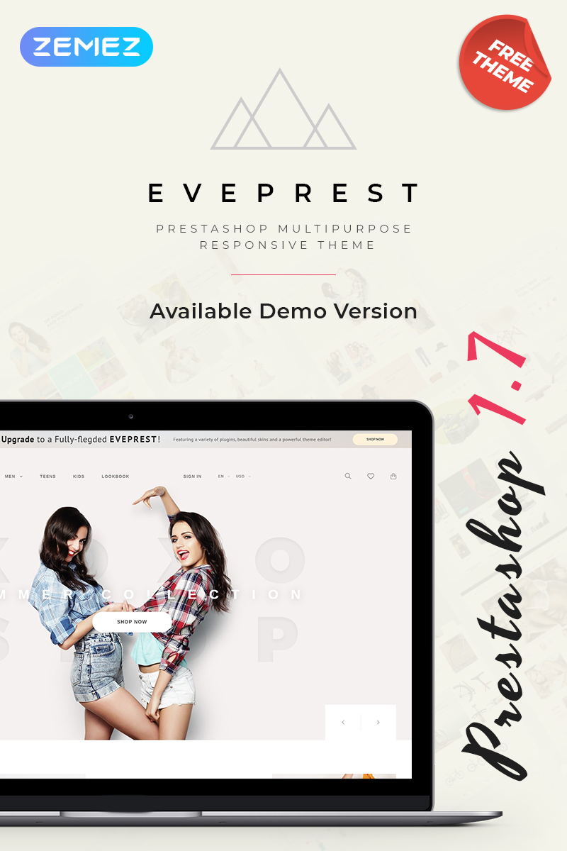 "Modello PrestaShop Responsive #79955 ""Eveprest - Free Clean Bootstrap Ecommerce"""