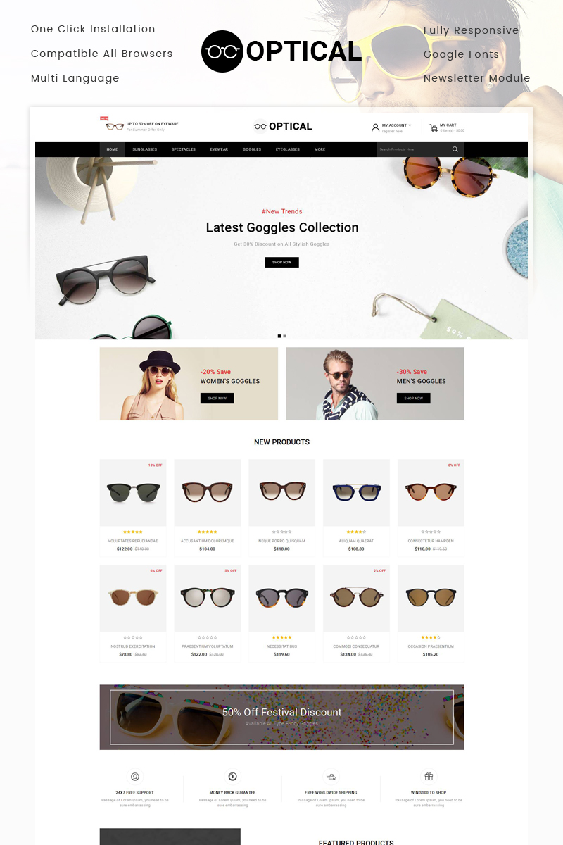 """Optical - Eye Glasses Store"" Responsive OpenCart Template №79900 - screenshot"