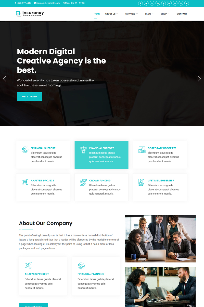 Responsive Insurancy - Insurance Business with Page Builder Joomla #79954