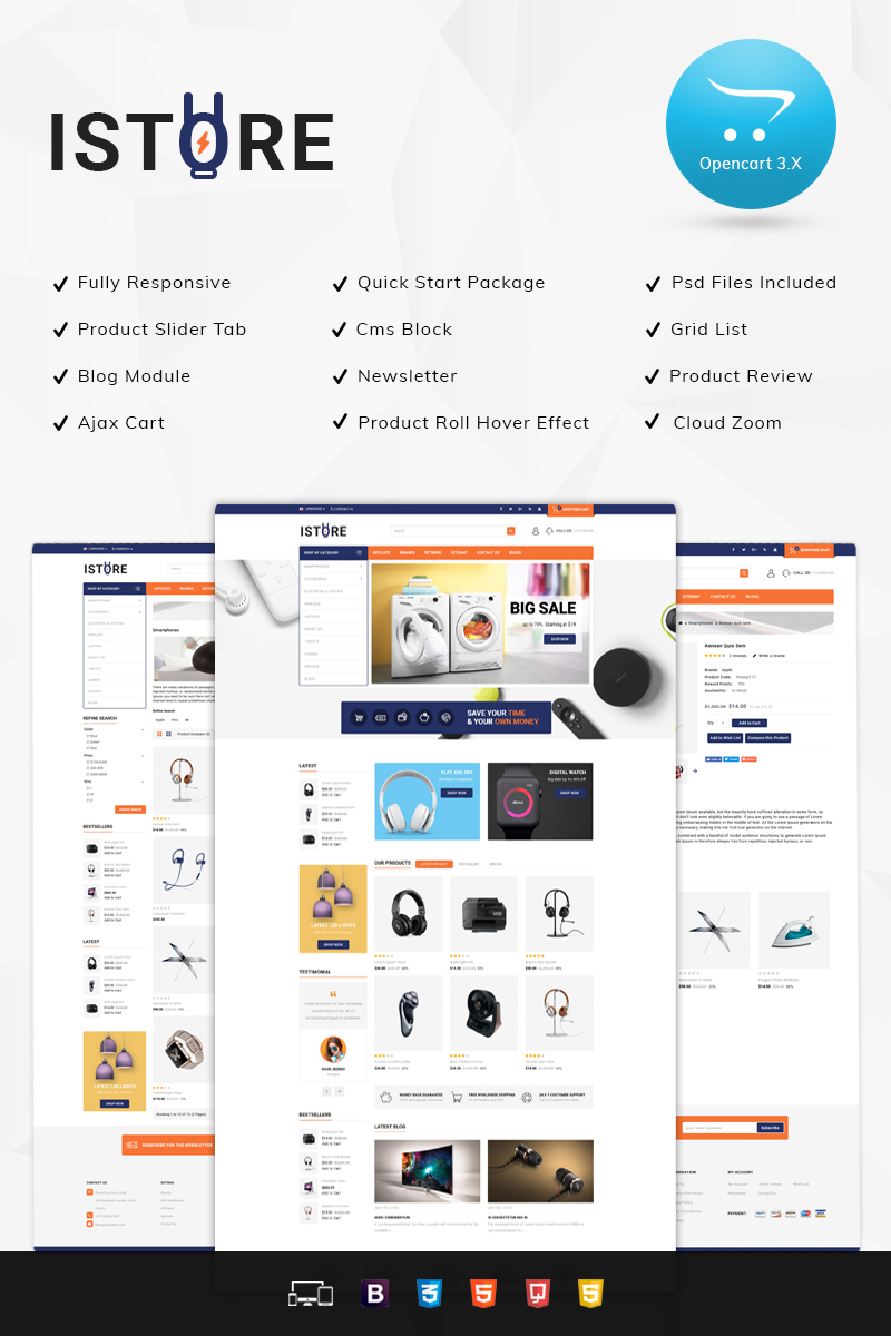 Responsive IStore - Electronic Shop Opencart #79929
