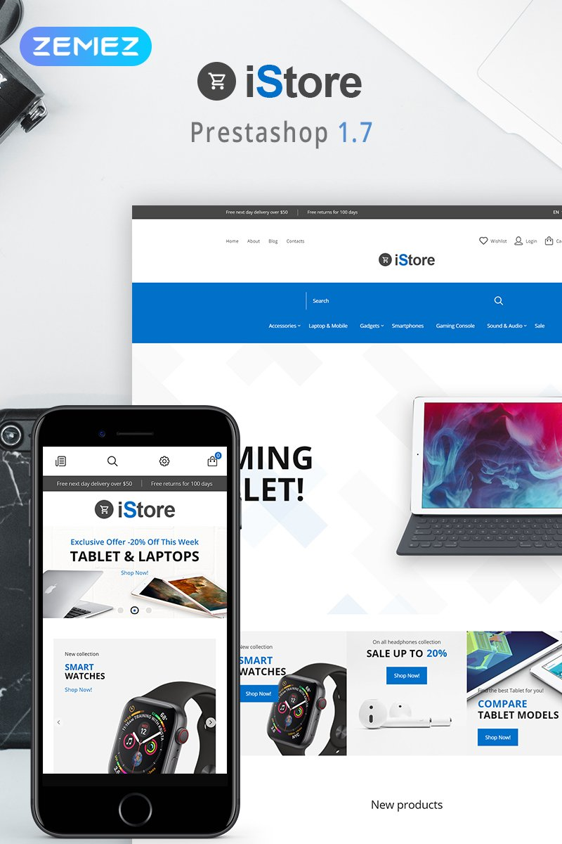 "Tema De PrestaShop ""iStore - Electronics Shop Clean Bootstrap Ecommerce"" #79904"