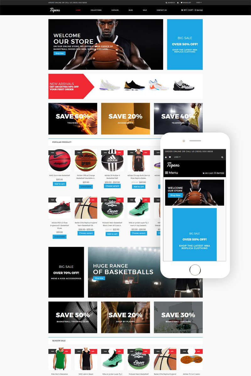"""Template Shopify Responsive #79975 """"Tigers - Basketball Store Modern"""""""