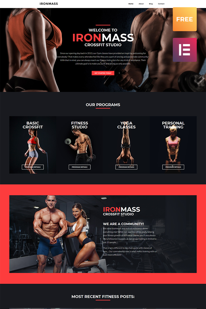 "Template WordPress Responsive #79906 ""IronMass lite - Gym Fitness & Bodybuilding"""