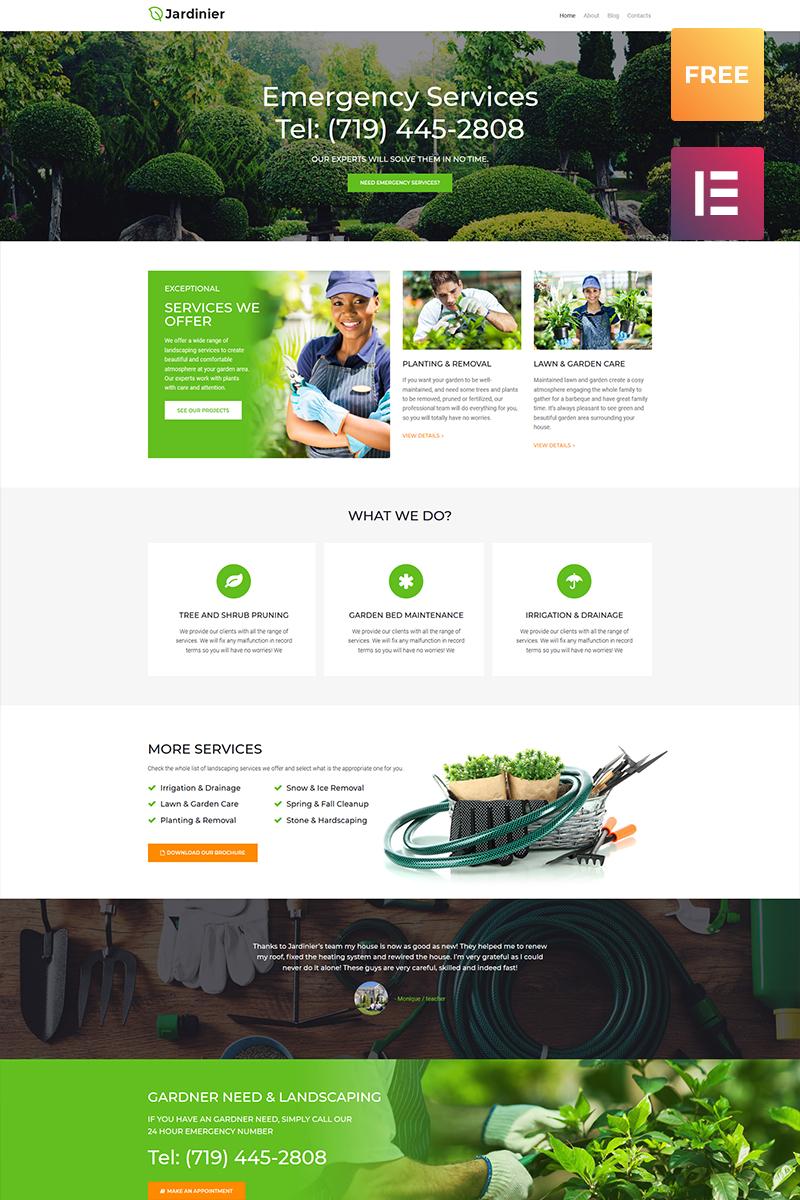 "Template WordPress Responsive #79981 ""Jardinier lite - Landscaping Services"""