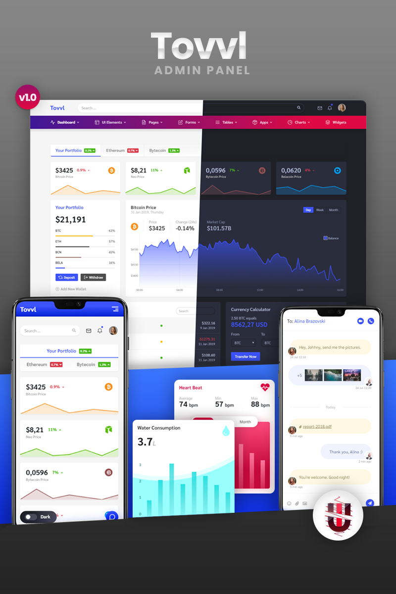 """""""Tovvl - Bootstrap 4 Responsive"""" Responsive Admin Template №79907"""