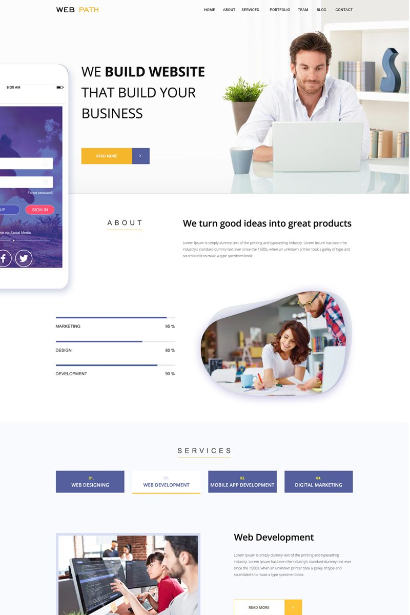 Web Path - One Page PSD Template