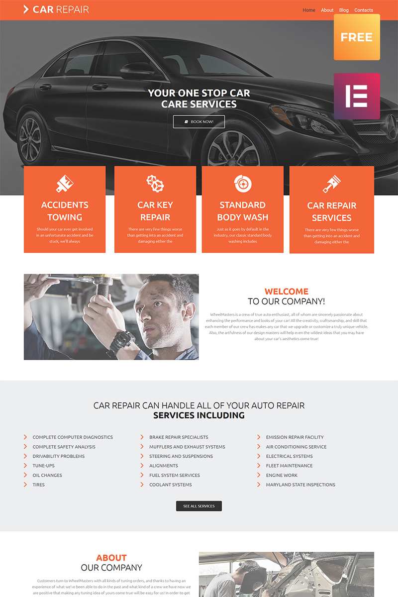 """Car Repair lite"" Responsive WordPress thema №80071"