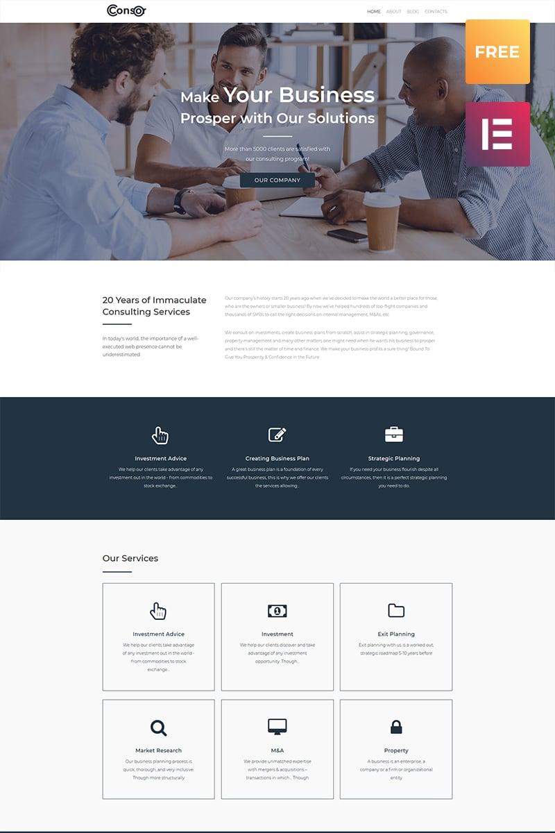 """Consor lite - Business Consulting Elementor"" - адаптивний WordPress шаблон №80070"