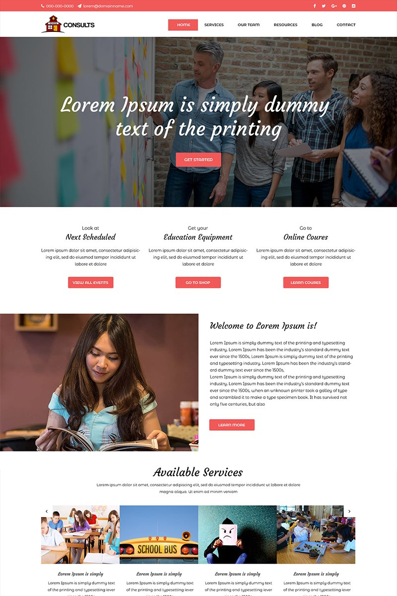Consults- School Education PSD Template