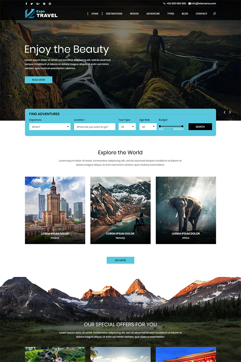 """""""Expo Travel - Travel"""" PSD Template №80042"""